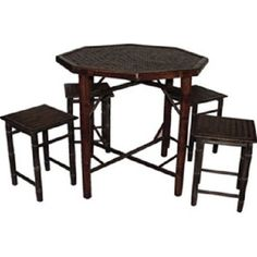 This natural bamboo bistro set is handcrafted from very strong natural bamboo which gives a tropical accent to any environment. Ideal for indoor or outdoor use. Folding table and stackable stools for easy storage