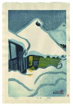 Kasamatsu, Shirô (1898 - 1991)  Yukiguni (雪国) - Snow country  Paper size: 28.9 x 43 cm. Self-carved, self-printed and self-published in 1959, print details in the bottom margin.   Saru Gallery - Japanese prints and japanese paintings