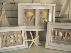 Simple summer decor: Shells glued to book pages and framed