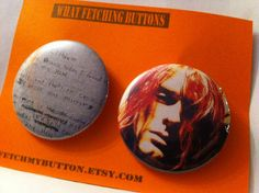 Nirvana - Kurt Cobain - Pin Back Buttons  -  found object art - 2.25 inches on Etsy, $5.00