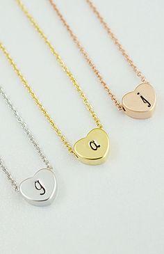 Modern minimalist Initial heart bead necklace from EarringsNation
