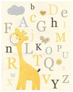 Nursery Art Decor, Kids Print, abc, baby owl nursery art, baby giraffe, gray, yellow, mustard, alphabet. $17.00, via Etsy.