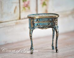 In the Court of the Gypsies: Hand Painted Miniature - French Rococo Kidney Side Table