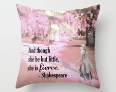 Check out Shakespeare Pillow, Feminist Gift, She is Fierce, Pink Pillow, Fairy Pillow, Girl Gift, Strong Girls, Pink Throw Pillow, Feminism, Daughter on mayaredphotography