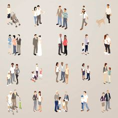 Families - Flat Icons Illustration royalty-free families flat icons illustration stock vector art & more images of 2015 People Cutout, Cut Out People, Architecture People, Architecture Drawings, Photomontage, Render People, Isometric Design, People Illustration, Vector Illustrations