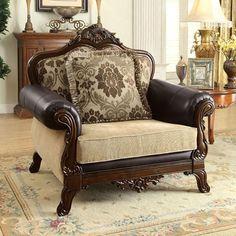 Furniture of America Rashid Love Seat in Tan/Dark Oak Recliner With Ottoman, Wingback Chair, Armchair, Traditional Chairs, Chair Backs, Wood Trim, Sofa Set, Living Room Furniture, Love Seat