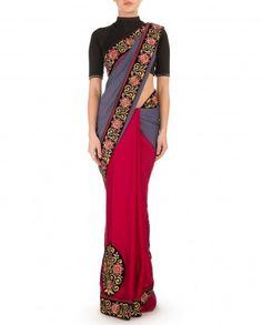 Vermillion Red Sari with Blue Gray Pallu