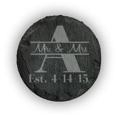 Round Slate Coasters (set of 4)  - Mr. & Mrs. Thru  Monogram with Personalized  Date