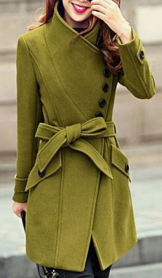 Coats I LOVE! Gorgeous Color! Love Chartreuse Green! Chartreuse Lime Green Fall Winter Coat Fashion #Chartreuse #Lime #Green #Winter #Coat #Fashion