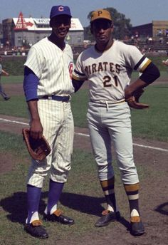 Ernie Banks and Roberto Clemente at Wrigley Field.