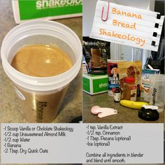 Banana Bread Shake 21 Day Fix Approved Delicious and Healthy  a power full journey: Shakeology Recipes