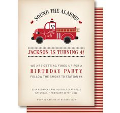 etsy listing for invites and matching cupcake toppers for firetruck party