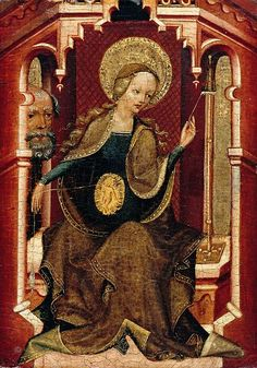 The Virgin Weaving / La Virgen tejiendo // ca 1400 // The Master of Erfurt // Upper Rhine // Theotokos / Virgin Mary / Virgen María // Catholic Art, Religious Art, Medieval Paintings, Early Middle Ages, Museum, Blessed Virgin Mary, Blessed Mother, Dark Ages, Sacred Art