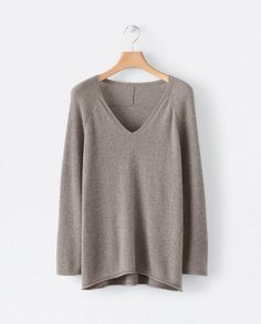 e66b7e5e183ef2 Poetry of Cashmere v-neck sweater Taupe, Stitch Patterns, Wool, V Neck