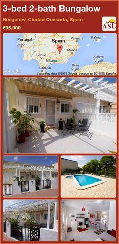 3-bed 2-bath Bungalow in Bungalow, Ciudad Quesada, Spain ►€95,000 #PropertyForSaleInSpain