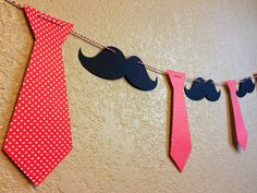 Mustache and Necktie Garland Banner Bunting by SunflowerPaperie
