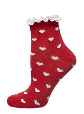 Red All Over Heart Lace Top Socks