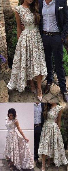 Pretty Jewel Cap Sleeves High Low Ivory Lace Prom Dress with Sash M0650#prom #promdress #promdresses #longpromdress #promgowns #promgown #2018style #newfashion #newstyles #2018newprom#eveninggowns#jewel#capsleeves#highlow#ivorylace#sash