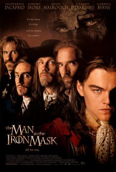 From back to front: former Musketeer Gerard Depardieu, former Musketeer Gabriel Byrne, former Musketeer John Malkovich, former Musketeer Jeremy Irons, and King Louis XIV Leonardo di Caprio. This is one of those films that takes you out of your humdrum world for two hours and drops you into another time and place...pure escapism. - Ronni