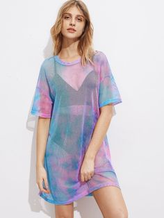 d99da51ee5d7 Drop Shoulder Tie Dye Fishnet Cover Up Dress