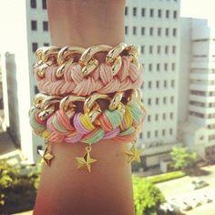 Pastel Stars Chain Bracelet by TwoStrangeP