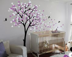 Tree Wall Decal Modern Baby Nursery Wall Decals Baby Decal Tree with Blossoms and Birds Wall Mural Sticker Wall Decor - 002 - http://www.babydecorations.net/tree-wall-decal-modern-baby-nursery-wall-decals-baby-decal-tree-with-blossoms-and-birds-wall-mural-sticker-wall-decor-002.html