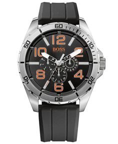 Hugo Boss Men's Boss Orange Black Silicone Strap Watch 48mm 1512945 - Men's Watches - Jewelry & Watches - Macy's
