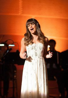 Lea Michele on Glee in cream-colored gown