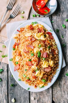Bacon and Egg Fried Rice Recipe, by thewoksoflife.com