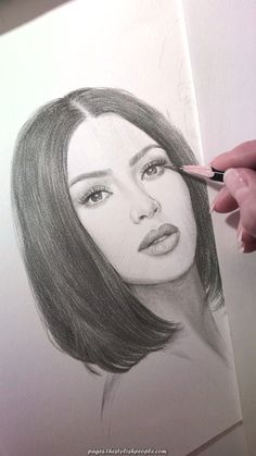 Pencil portrait of Kim Kardashian.-Pencil portrait of Kim Kardashian. The work is not finished yet, I'll give Kim a few more marks. Plus there's a younger sister awaiting her turn. Girl Drawing Sketches, Art Drawings Sketches Simple, Pencil Art Drawings, Realistic Drawings, Beautiful Drawings, Easy Drawings, Woman Drawing, Pencil Sketch Portrait, Indie Drawings