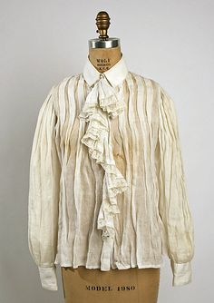 White linen shirtwaist with ruffled fichu, American, 1890s.