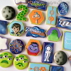 Miles from tomorrowland inspired cookies for Zayden's birthday! 4th Birthday Parties, 5th Birthday, Birthday Ideas, Miles Von Morgen, Galaxy Cookies, Miles From Tomorrowland, Cookies For Kids, Space Party, Party Planning