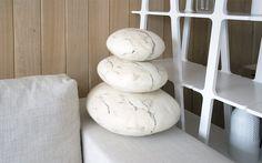 fivetimesone — stONE collection travertine pillows www.fivetimesone.com