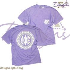Purple comfort colors chevron monogram styled pocket t! Delta Phi Epsilon! DPhiE Designs!