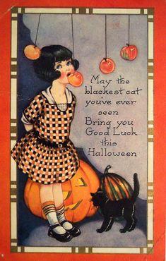 Illustration vintage Halloween 1900s vintage halloween posctard