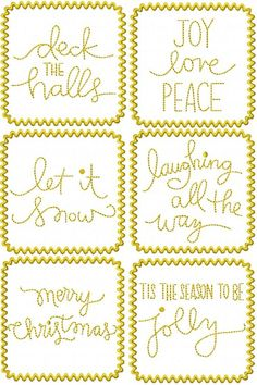 Words of Christmas In Frames  4x4 hoop size. Formats: dst, exp, pes, hus, jef, shv, vip vp3, xxx  Set of 6 words and phrase of Christmas in Frames and without frames. Total of 12 designs.