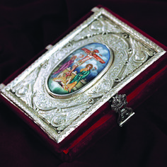 Small silver Gospel with enamel. Enamel with any scene of your choice can be made, as the Descent from the Cross. The Descent, Byzantine Art, Handmade Silver, Class Ring, Enamel, Scene, Utensils, Rings, Jewelry
