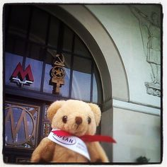 #kaplanbear about to get in #oktyabrskaya #station in #Moscow. #KaplanBear loves the old #sovietarchitecture found in many of the #metro #stations. #kaplanbear is with Isabel in Moscow visiting #students that want to do an #universitydegree in the #uk. #studyintheuk #studyabroad