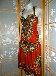 red dashiki print dress $40 etsy.com