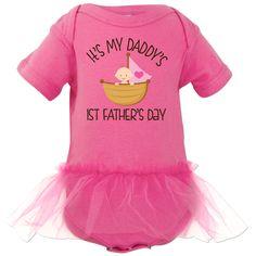 1st Fathers Day Baby Girl Infant Tutu Bodysuit Raspberry $29.99 www.homewiseshopperkids.com