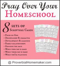 Praying Over Your Homeschool (Printable Scripture Cards) by ProverbialHomemaker.com