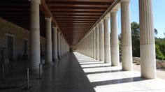 Exterior colonnade on the ground floor of the Stoa of Attalos. A stoa is a (covered walkway or portico) in the Agora of Athens, Greece. Covered Walkway, Entrance Ways, Athens Greece, Arches, Ground Floor, Facade, Asia, Stairs, Exterior