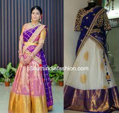 Heavy Border Kanjeevaram Bridal Half Sarees and Lehengas for weddings, engagement and half saree ceremony, pattu lehengas