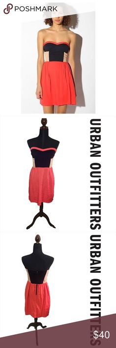 """Strapless colorblock UO dress Perfect condition strapless dress from Urban outfitters - 29"""" in length. Brand is sparkle and fade. Colors are navy blue, tan/nude/beige, with coral Urban Outfitters Dresses Strapless"""