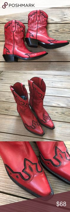 4a6c53f579fa Coldwater Creek Red Leather Cowboy Boots Size 6 Coldwater Creek Red Leather  Cowboy Boots Black details
