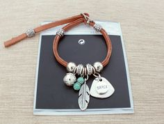 Leather Bracelet, Light Brown, Silver Pendants, Turquoise Beads, Feather, Looped - Charm Bracelets, Bohemian Bracelet - For Women