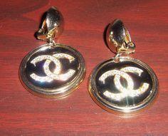 Vintage Chanel Clip On Earrings black enamel rhinestones