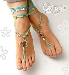 Butterfly Barefoot Sandals. Turquoise Bellydance Shoes, Gypsy Shoes Toe Anklet