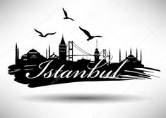Illustration of istanbul - Hagia Sofia vector art, clipart and stock vectors. Typographie Design, Istanbul City, Istanbul Travel, Skyline Silhouette, Turkish Art, Instagram Highlight Icons, Wall Stickers, Icon Design, Design Elements