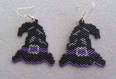 Witch's Hat Halloween Earrings in delica seed beads